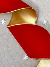 "Wired Red Velvet Ribbon - 4"" Metallic Gold & Red Velvet Trim Wide Christmas"