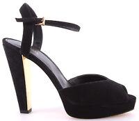 Chaussure Escarpins Femme MICHAEL KORS Claire Sandal Suede Black Dress Noir New