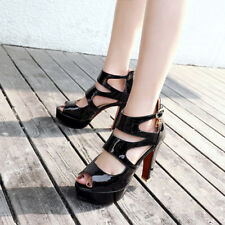 Sommer Damen Lackleder High Heels Platform Pumps Cut-outs Gladiator Sandalen