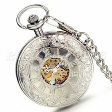 Steampunk Roman Numerals Dial Skeleton Mechanical Pocket Watch Mens Necklace