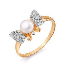 585 14K Oro Rosa ruso Anillo de perla talla M-16.5 en Caja De Regalo