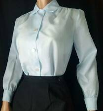 ICE BLUE Vtg 1950s Shimmering Crepe Fitted FRENCH CUFF Blouse NOS XS