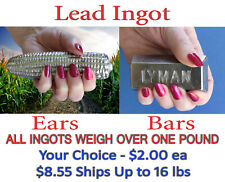 One Pound Purified Lead Ingots Cast with Lyman and Cornbread Moulds