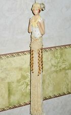 """Fringed Lace Beaded FLAPPER GIRL - HANGING DECORATIVE ORNAMENT - 10 1/2"""""""