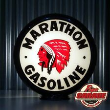 "Red Indian Marathon Gasoline - 13.5"" Gas Pump Globe -  Made by Pogo's Garage"