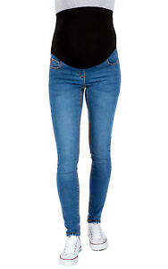 Ex Chainstore Maternity Over Bump Skinny Jeggings, Pull On Blue Pregnancy Jeans