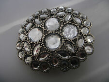 BLING BELT BUCKLE METAL SILVER COLOURED SET WITH WHITE STONES