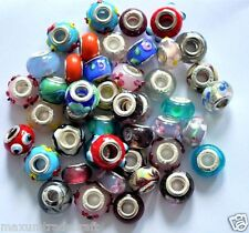 50x various murano glass charm beads fit European style snake chain by 1st class