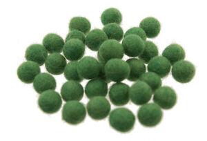 25 Perline Palle Di Feltro Naturale Ø=1.7 CM Nepal Verde BA3