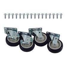 """Caster Set Heavy Duty Plate Mount 4"""" Wheel New 35811"""