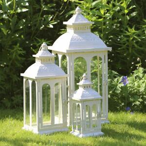 LANDHAUS Laterne COUNTRY creme weiß aus Metall H59cm mit Rundbogenfenstern