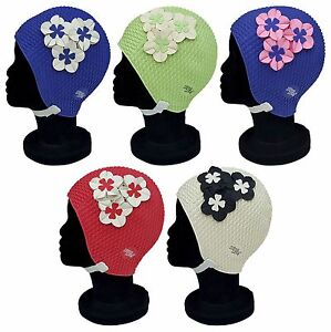 BLUE REEF Bubble Seoul Floral Ladies Stylish Elegant Chin Strap Swimming Hat Cap