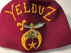 FEZ Hat Shriner Masonic Ceremony W Tassel YELDUZ Leather Lou Walt New York