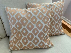 Yves Delorme Iosis 100% Linen Embroidered Piped 18 x 18 inches Copper (pair)