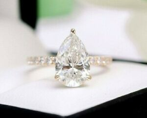 White 2.50 Cut Pear Cut Diamond Solitaire 14k Rose Gold Plated Anniversary Ring