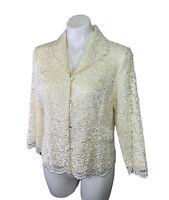 New Talbots Blazer Jacket 10 M Medium Ivory Lace Button Up Long Sleeve NWT $158