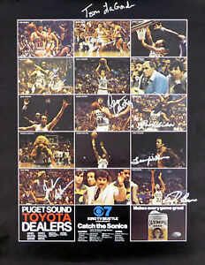 1978-79 NBA Champions Supersonics Auto Poster Photo 9 Sigs Fred Brown MCS 51044