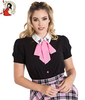 HELL BUNNY BUZZ BLOUSE bee REMOVABLE BOW BLACK vintage style TOP