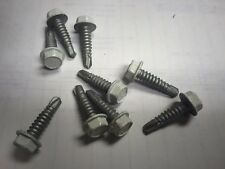 14 x 1 White Hex Unslotted Self-Drilling Screws Steel Zinc Plated 200 pcs