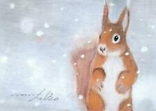 ACEO original pastel drawing red squirrel winter snow by Anna Hoff