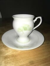 Vintage MR Tea Cup and Saucer Bone China green Floral England
