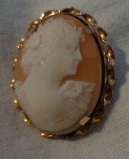VICTORIAN SHELL CARVED CAMEO 12KT GF PENDANT/BROOCH