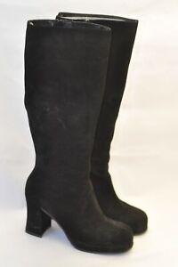 Ladies Black Suede Block Heel Boots - UK3/EU36