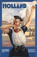 "Vintage Illustrated Travel Poster CANVAS PRINT Holland Netherlands Rail 8""X 12"""