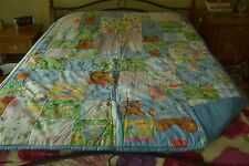 "Bright Squares & Teddy Bears on Blue Quilt #43, 60"" x 80"", Handmade"