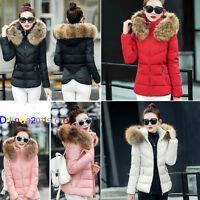 2018 Winter Womens Down Cotton Parka Short Fur Collar Hooded Coat Quilted Jacket