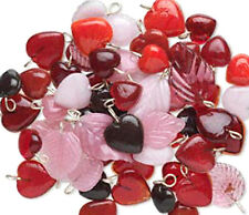 Red Heart Charms Glass Leaf Pink Pendants Drops Jewelry Lot of 50