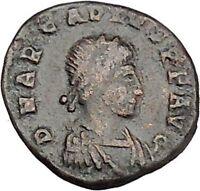 ARCADIUS 388AD Ancient Roman Coin VICTORY Nike  Chi-Rho Christ Monogram i42386