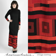 Vintage 70s OpArt Jersey Dress Geometric Ribbed Mod Cocktail Party Holiday Maxi