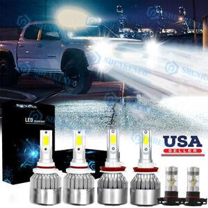 Xenon White LED Headlights Bulbs + Fog Light For GMC Sierra 1500 2500 3500 6x