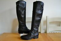 "CLARK`S ""LICORICE CANDY"" BLACK LEATHER KNEE HIGH RIDING BOOTS UK 4D RRP £160"
