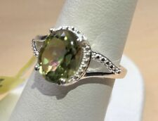 Green Mystic Quartz Ring Sterling Silver Split Band Size 6