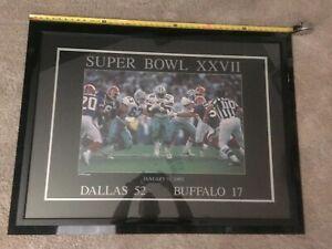 Super Bowl XXVII 27 Lithograph Poster 1/31/93 Framed Emmitt Smith Aikman 1993