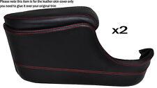 RED STITCH 2X DOOR POCKET ARMREST SKIN COVERS FITS JAGUAR XJ6/12 SERIES 1