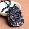Natural Black Obsidian Drachen Anhänger mit Halskette schwarz Amulett Glück WoW