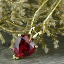 2.03Ct Beauty Heart Cut Red Ruby Solitaire Pendant Necklace 14kYellow GoldFinish