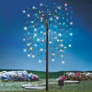 1.2m Grand Solaire Éclairage 200 LED Multi-Color Pleurant Saule Jardin Arbre
