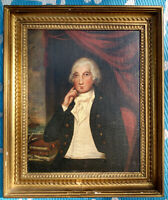18thc. Portrait George Washington Oil Painting w/Ship Bay GeoW Posed for Artist