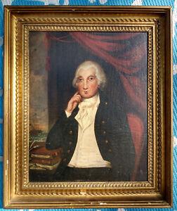 18th c. Portrait George Washington Oil Painting & Powdered Wig Bay w/Ship
