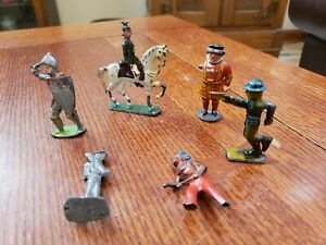 Lot of 6 Vintage Cast Iron WWII Soldiers Indian Britain Foreign USA Military