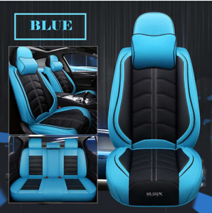 Deluxe Edition 5D Surround Seat Covers Blue/Black Universal Fit For 5-Seats Car