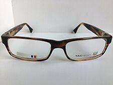 New TAG Heuer TH 0501 501 004 57mm Havana Men's Eyeglasses Frame Frame France