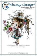 """Stempel """"Dolly"""" Whimsy Stamps, Mädchen mit Blumenstrauß, rubber stamp"""