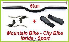 MANUBRIO 60cm NERO + Leve FRENO + MANOPOLE Ergonomiche Mountain Bike/City Bike