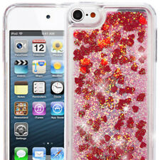 iPod Touch 5th / 6th Gen - TPU Gummy Hard Rubber WATERFALL LIQUID Case Red Heart