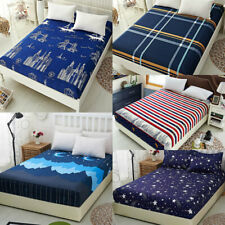 Fitted Bed Sheets Cover Striped Plaid Bedding Throw Set Queen King Size